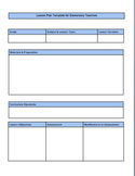 Editable Elementary Lesson Template