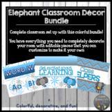 Editable Elephant Themed Classroom Decor Bundle