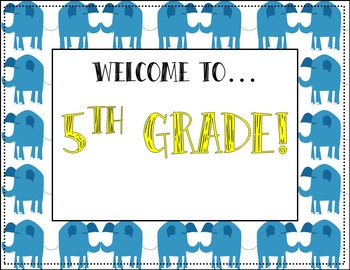 Editable Elephants Classroom Door Sign - BLUE