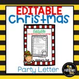 Editable Elf Class Christmas/Holiday Party Letter with Blank Template
