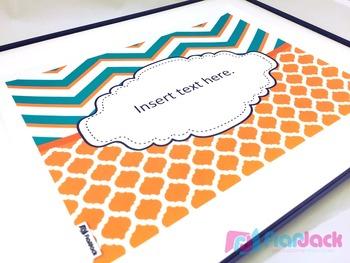 Editable Emerald Orange Color Scheme Class Decor Kit