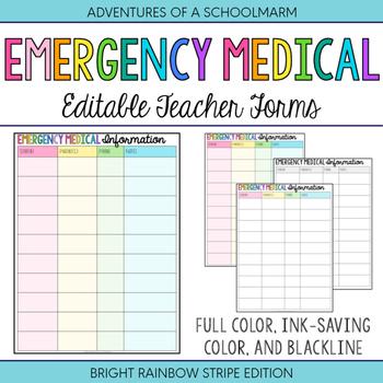 Editable Emergency Medical Student Forms | Build a Teacher Binder