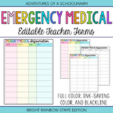Editable Emergency Medical Student Forms | Build a Teacher Binder