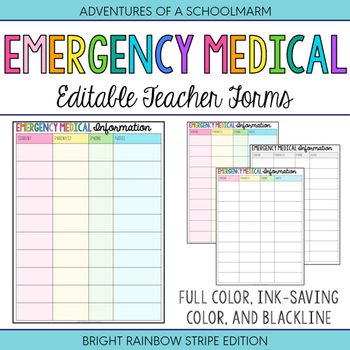 Editable Emergency Medical Student Forms - Build a Teacher
