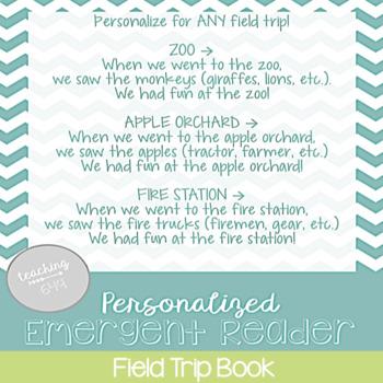 Editable Emergent Reader: Field Trip Book