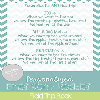 Editable Emergent Reader: Field Trip Book