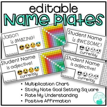 Editable Emoji Desk Name Plates - Color and B/W