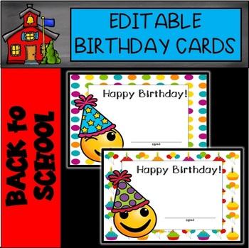 Editable Emoji Happy Birthday Cards