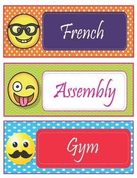 Emoji Theme Schedule Cards - EDITABLE