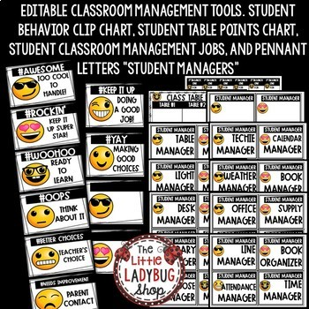 Editable Emoji Theme Behavior Clip Chart Back to School Emoji Classroom Theme