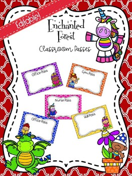Editable Enchanted Forest Themed Classroom Passes