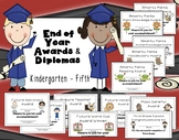 Editable End of Year Awards, Certificates, Diplomas {K-5}