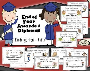 Editable End of Year Awards, Certificates, Diplomas {K-5}