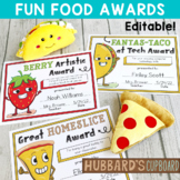 EDITABLE End of Year Awards - Food Puns - End of the Year Awards - Classroom