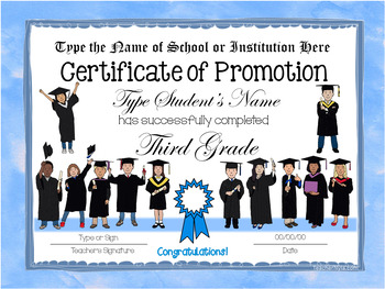 Editable End of Year Certificates - 3rd Grade - Watercolor Borders with Kids