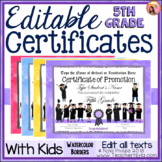 Editable End of Year Certificates - 5th Grade - Watercolor Borders with Kids