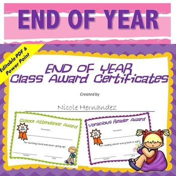 End of Year Awards - (Ink Saver and Clutter Free!)