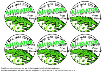 Editable End of Year Gift Tags - See you later Alligator