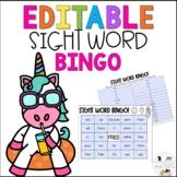 Editable End of Year Sight Word Bingo