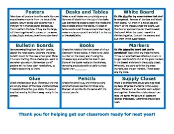 Editable End of Year Student Cleaning Task Cards or Menu Board