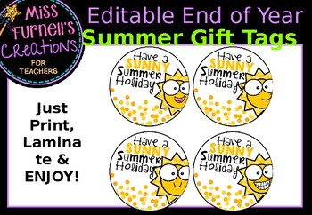 Editable End of Year Summer Gift Tags