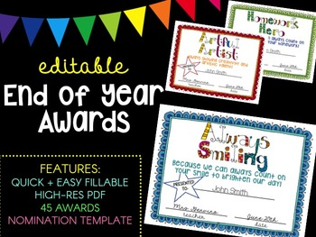 Editable End of Year Superlative Awards