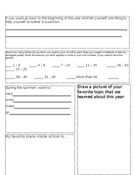 Editable End of Year Writing Reflection