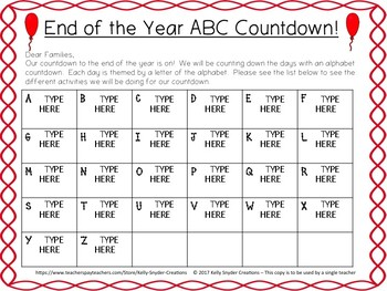 Editable End of the Year ABC Countdown Parent Letter