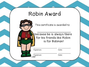 Editable End of the Year Award Certificates- Light Blue Large Chevron