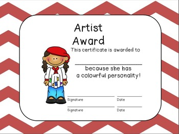 Editable End of the Year Award Certificates- Red Large Chevron