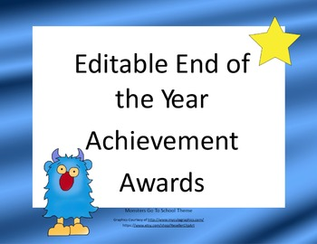 Editable End of the Year Awards-Monster Theme