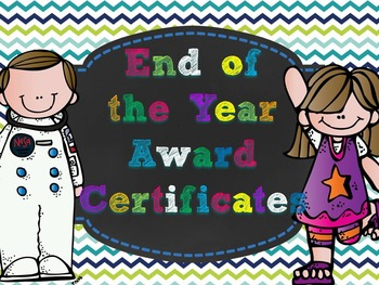Editable End of the Year Awards- blue green small chevron