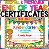 Editable End of the Year Certificates Awards