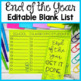 Editable End of the Year Checklist Brochure