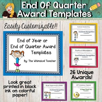 Editable End of the Year or Quarter Awards Package Academic Grades Behavior
