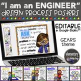 Editable Engineering Design Process Posters STEM Classroom Decor - Gears Theme