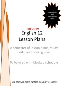 Editable English 12 Lesson Plans AND 17 Study Units