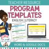 Editable English Program Template - K-6