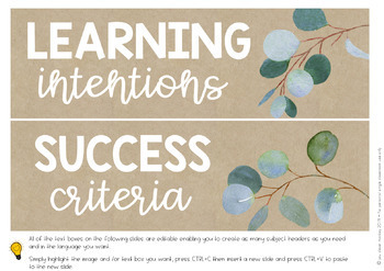 Editable Eucalyptus Learning Intention + Success Criteria Posters