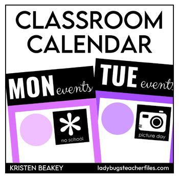 Editable Events Calendar Set for the Upper Grades