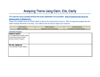 Editable Evidence Based Writing/ Claim, Cite, Clarify Graphic Organizer Theme