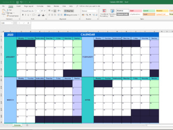 FREE Editable Excel Annual Calendar for 2020