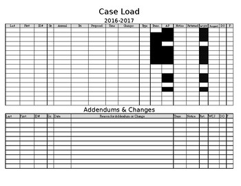Editable Excel Caseload