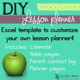 Editable Excel Lesson Planbook template for Middle and Sec
