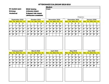 Editable Excel Spreadsheet- 2015-2016 Speech Therapy Attendance
