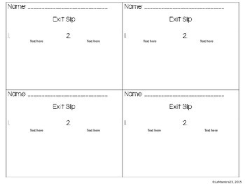 Editable Exit Slips