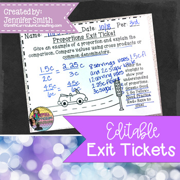 editable exit tickets for all subjects by smith curriculum and