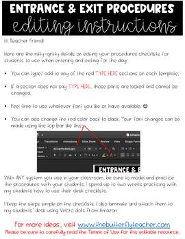 Classroom Procedures Checklists FREEBIE {Editable} | Entrance & Exit Procedures