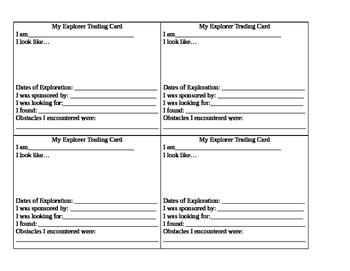 Editable Explorer Trading Cards