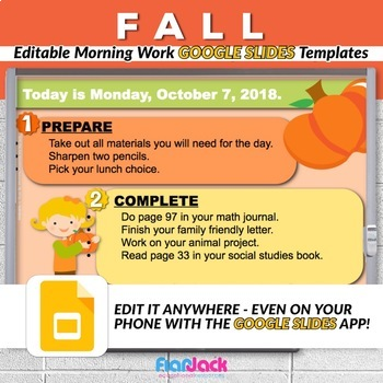 Editable FALL Autumn Morning Work GOOGLE SLIDES Templates